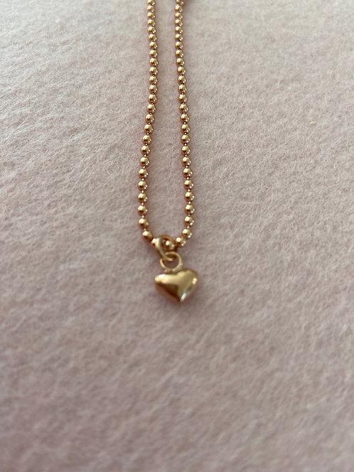Herz-Armband aus 925er Sterling-Silber rosévergoldet (Kugelkette)