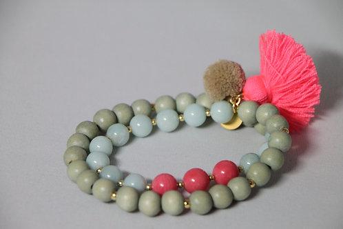 "Armband ""Mala Twin Coral Aqua"" von Schmückstück"