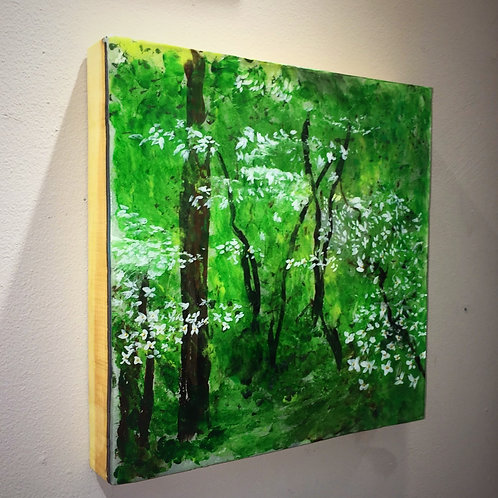 """Original Resin Painting from 2018 """"Dogwood Spring""""series."""