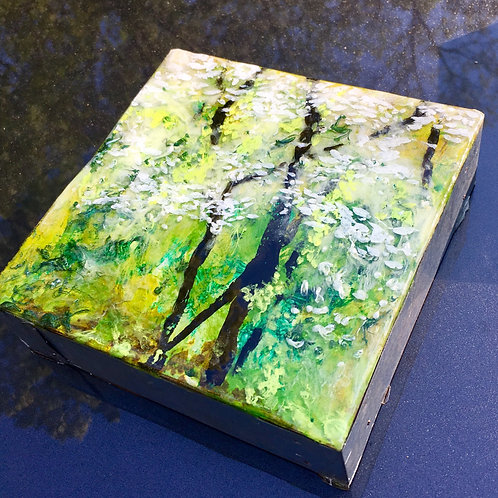 """Original Resin Painting from 2018 """"Dogwood Spring"""" series"""