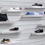 White Weave 3D Slatwall w magic shelves.