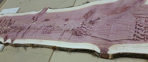 Etched cedar plank
