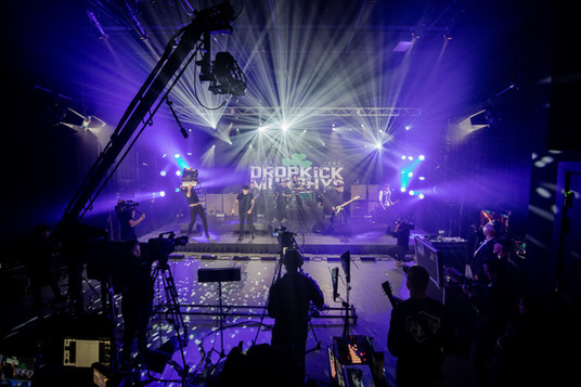 Behind the scenes of Dropkick Murphys concert on virtual stage for st. patricks day