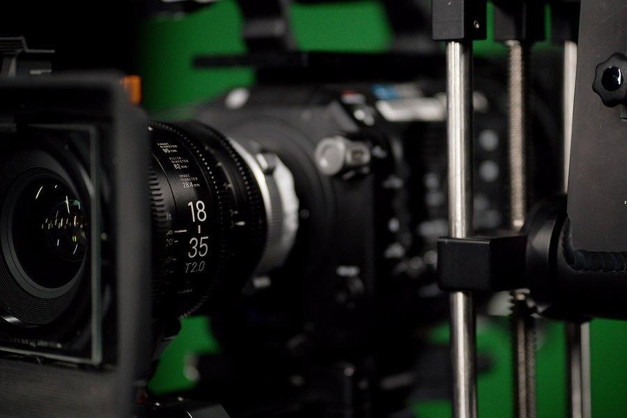 Film camera set up in production studio.