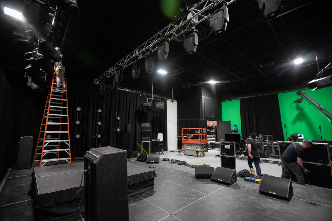 virtual production, stage, backline, rentals, camera, audio, lighting, studio, coworking, professional