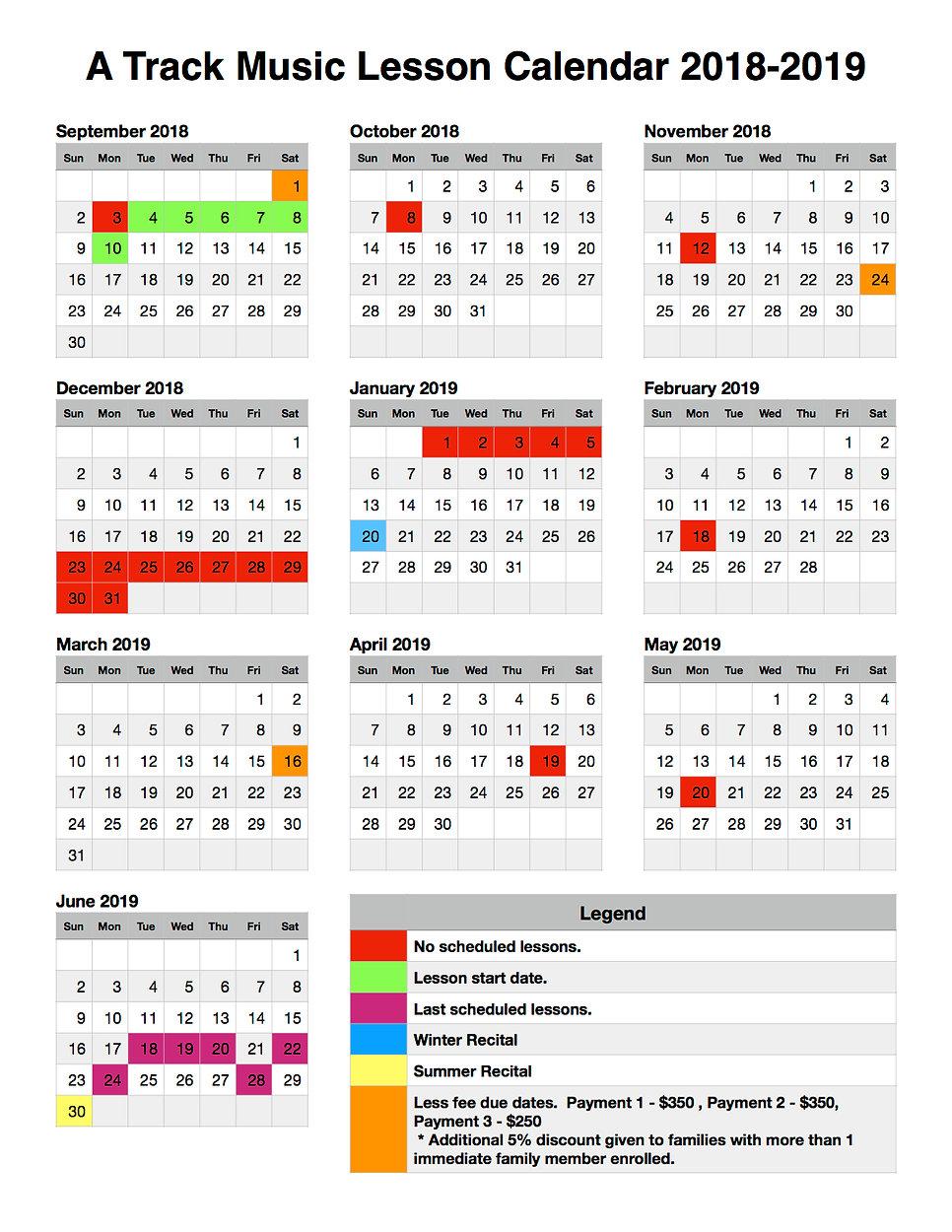 A Track Music Lesson Calendar 2018-2019.