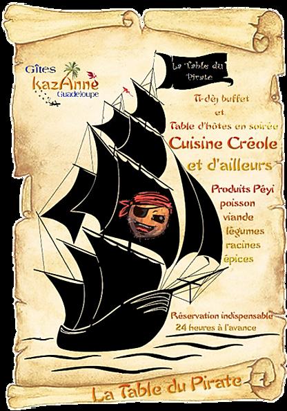 la table du pirate table d'hotes chez kazAnne Guadeloupe