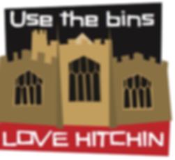 Love Hitchin use the bins sticker - litter