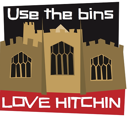 Love Hitchin use the bins sticker - litter