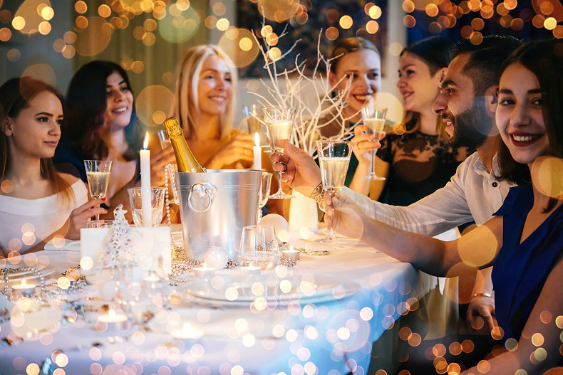 Friends celebrating Christmas or New Yea