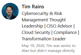 LinkedIn Tim Rains