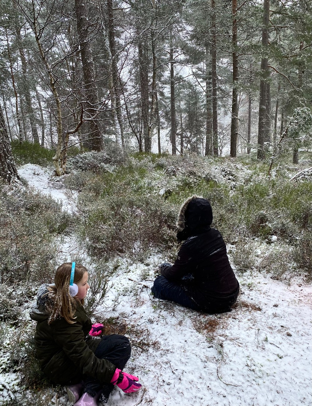 children sat in the snow in the woods