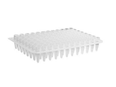 "Microplacas PCR transparentes tipo ""chimenea"", sin pollera para 96 wells."