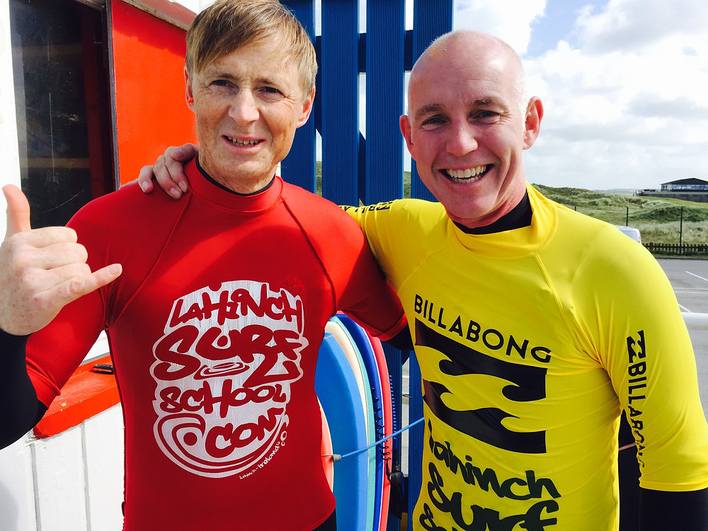 John McCarthy and Ray Darcy go surfing at Lahinch Surf School before rge Radio Show in Ennistymon, Co. Clare