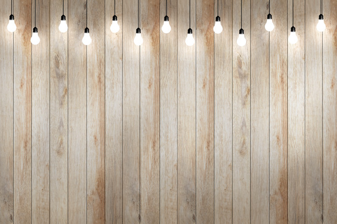 wood wall with bulb lights lamp. nice br