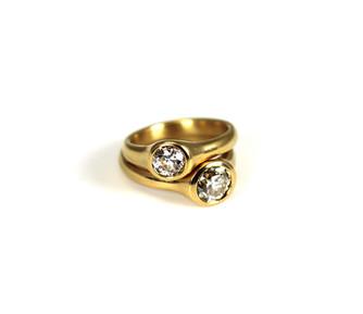 22 Karat Gold cast Rings with vintage diamonds