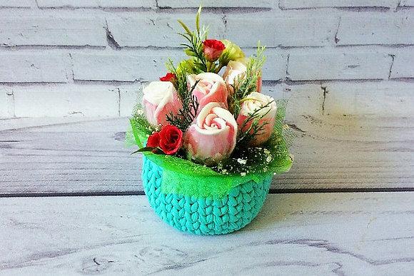 Букеты из мыла ручной работы, в наличии и на заказ, оригинальный подарок на праздник, букет роз в корзинке