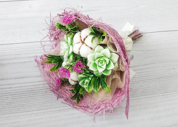 Букет из цветков хлопка и цветок сукулент. giftstudio.club
