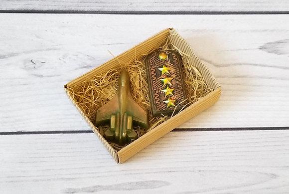 Подарочный набор За Родину из фигурного мыла ручной работы: самолет; пагоны; Творческий клуб Мастерская подарков