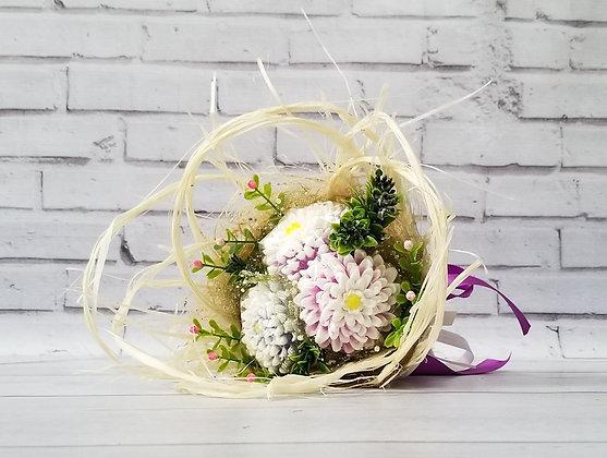 Букет цветов из мыла с тремя Астрами Вариант 1 вид 1