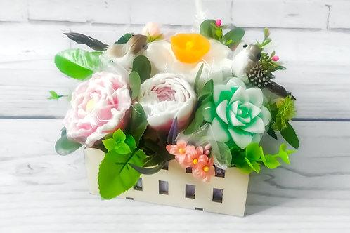 Цветы из мыла. Роза. Нарциссы. Пионы. Суккулента
