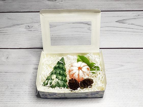 Новогодний подарочный набор с ёлкой и мандарином