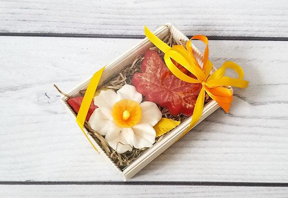 Набор из мыла с нарциссом и кленовым листом. Красивый и полезный подарок