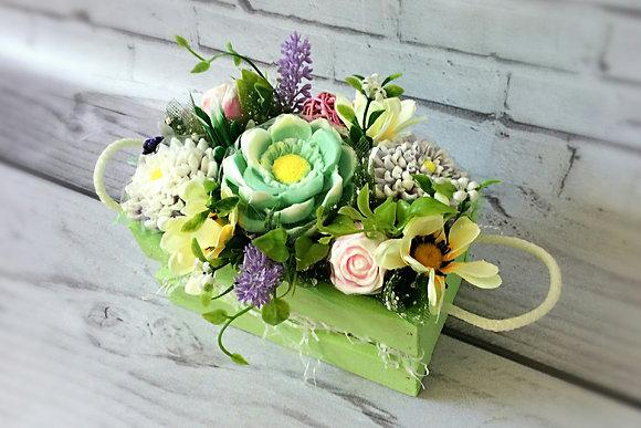 Букеты из мыла ручной работы, в наличии и на заказ, оригинальный подарок на праздник, букет цветов в ящике