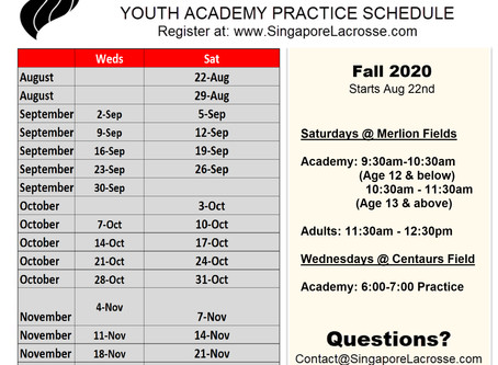 SLA 2020 Fall Practice Schedule