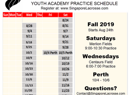 Fall 2019 Practice Schedule
