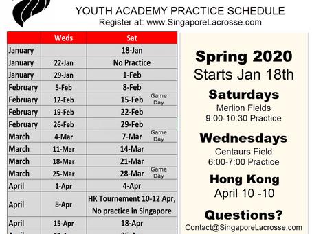 Spring 2020 Practice Schedule
