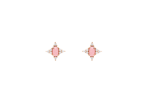 Pink Opal Square Star Earring