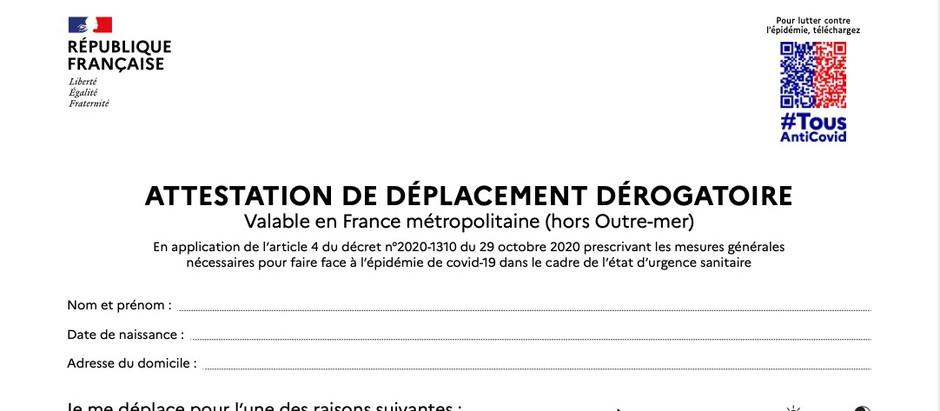 L'attestation officielle de déplacement dérogatoire est disponible sur notre site