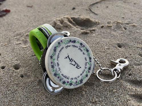 GEULAH, GUARANTEED🎵 KeyLime Green Mini Tambourine Keychain with Ani Maamin