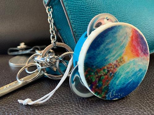 Tof Miriam Mystic Blue Splitting the Sea Tambourine Key Chain