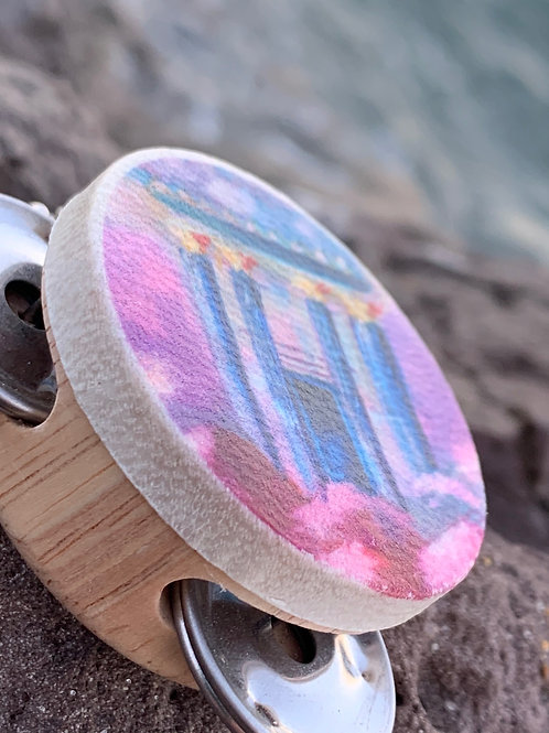 Tof Miriam Natural Wood Bais Hamikdash Temple Art Style Tambourine Key Chain