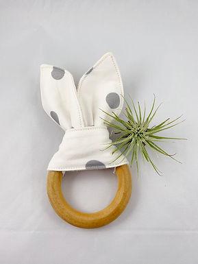 Crinkle Bunny Teether- Gray & White Polka Dot