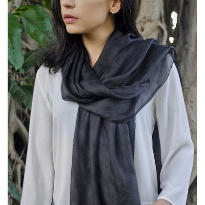 Black Khmer Silk Scarf