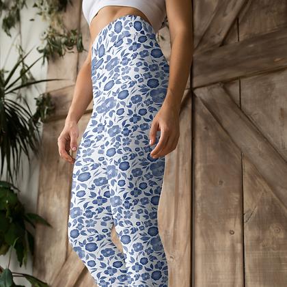 Classic Blue Watercolour Floral Yoga Leggings