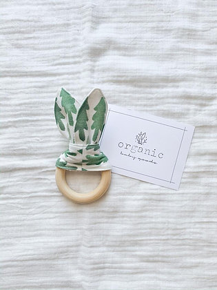 Crinkle Bunny Teether- Green Trees