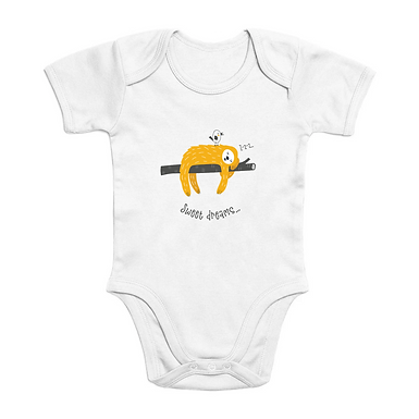 Sweet Dreams Short Sleeve Organic Baby Bodysuit