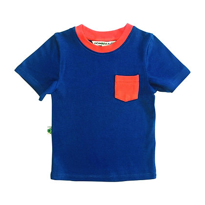 Contrast Pocket Tee - Navy & Red
