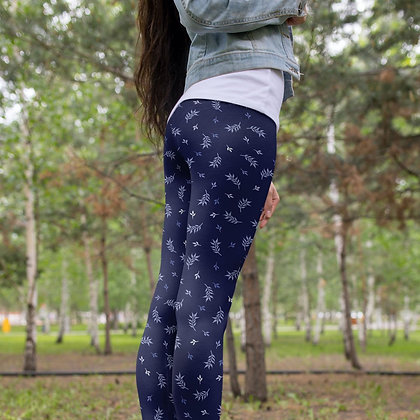 Modern Blue Foliage Yoga Leggings