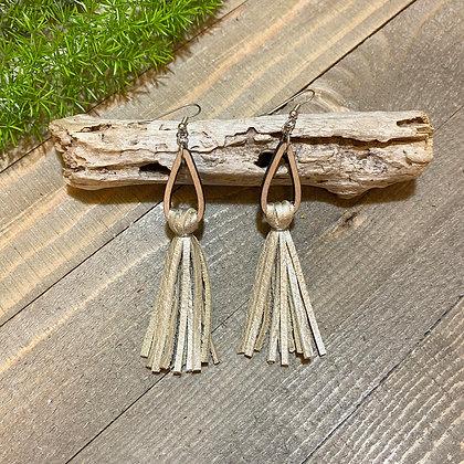 Leather and Wood Tassel Earrings