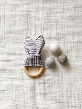 Crinkle Bunny Teether- Grey Woodgrain