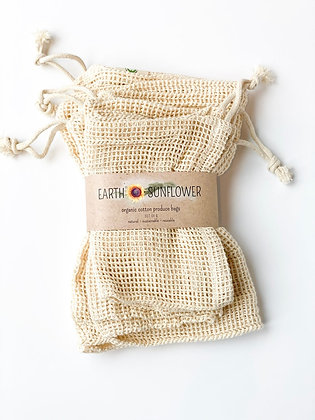 100% Organic Mesh Cotton Produce Bags (Set of 6)