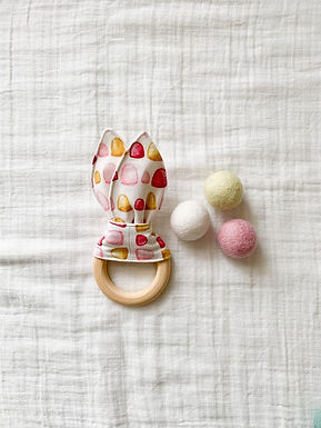 Crinkle Bunny Teether- Pink Gum Drop
