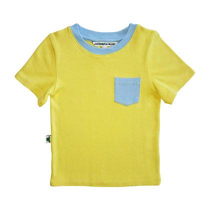 Contrast Pocket Tee - Sunshine & Sky Blue