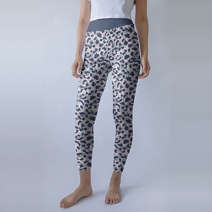Blue Leopard Yoga Leggings With Raised Waistband