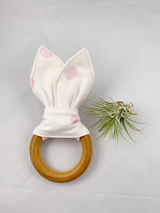 Crinkle Bunny Teether- White and Pink Polka Dot
